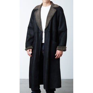 Men's Black Snow-Top Shearling Sheepskin Long Coat