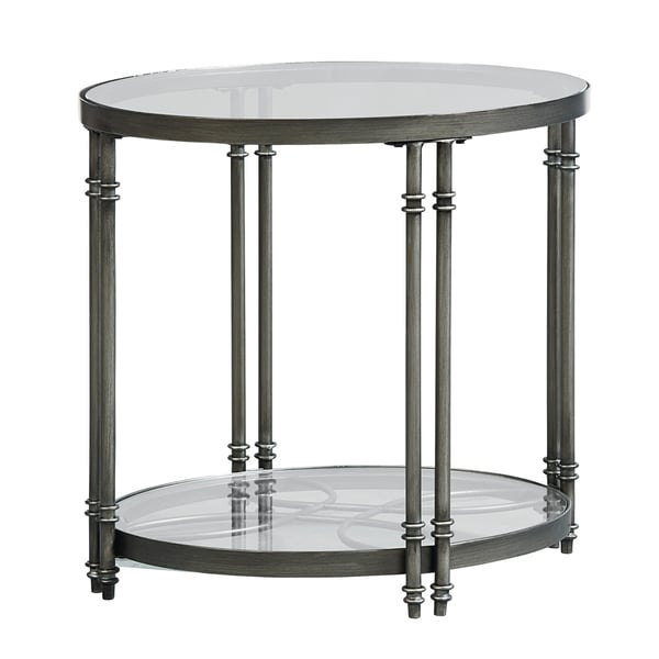 Standard Furniture Terrazza Brushed Nickel Metal/Glass End Table