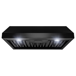 "AKDY 30"" Under Cabinet Matte Black Painted Stainless Steel Push Panel Range Hood"