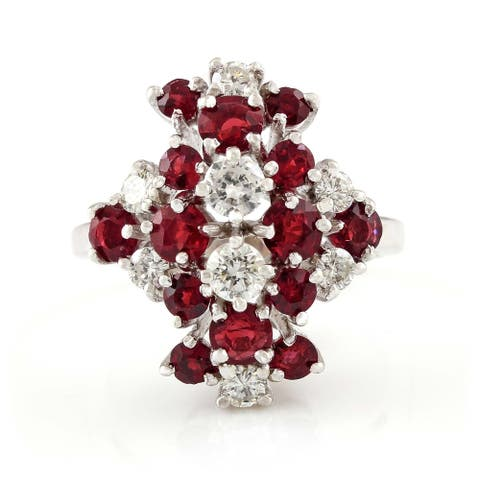 14K White Gold Ruby and Diamond Vintage Cluster Ring (H-I,VS1-VS2)