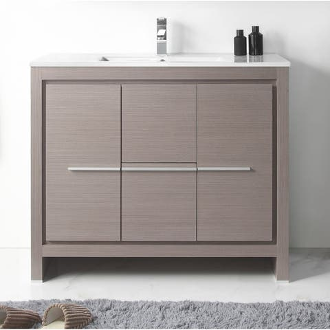 "40"" Viara Gray Oak Modern Bathroom Vanity"