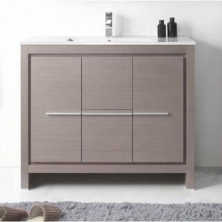 """40"""" Viara Gray Oak Modern Bathroom Vanity"""