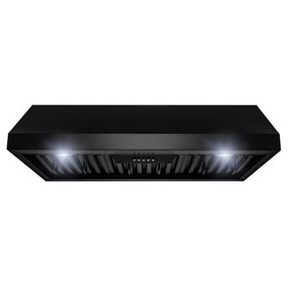 "AKDY 36"" Under Cabinet Black Painted Stainless Steel Push Panel Range Hood"