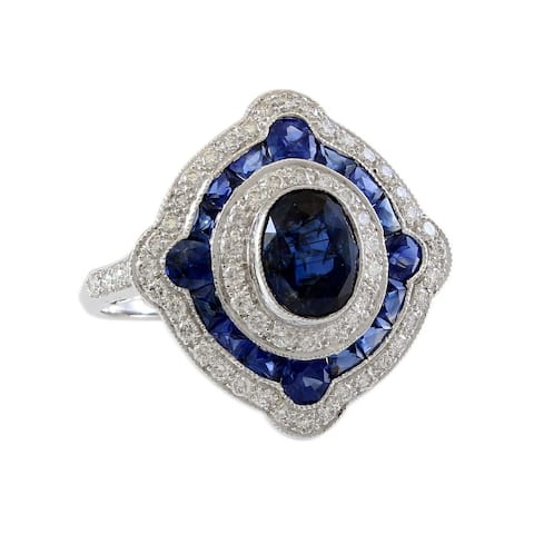 18K White Gold Diamond and Sapphire Halo Estate Ring (I-J,VS1-VS2)