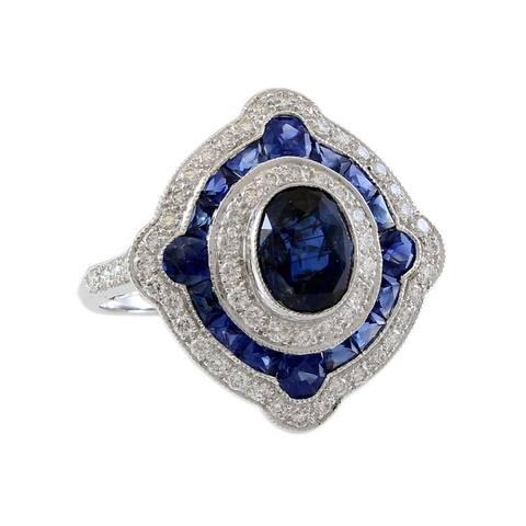 18K White Gold Diamond and Sapphire Halo Estate Ring (I-J,VS1-VS2)