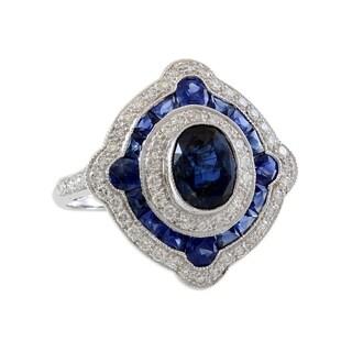18K White Gold Diamond and Sapphire Halo Estate Ring