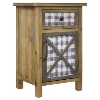 American Art Decor Wood End Table with Cabinet and Drawer