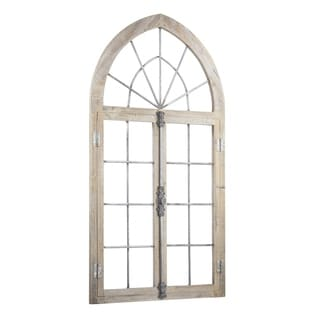 American Art Decor Wood and Metal Arched Window Door Wall Decor