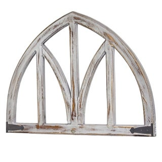 American Art Decor Whitewashed Wooden Arched Wall Decor - Farmhouse