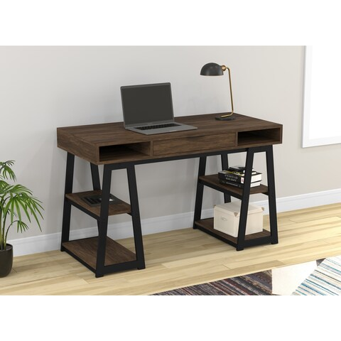 Safdie & Co. Walnut Finish Wood 48-inch Long Writing Desk/Computer Table/Gaming Office