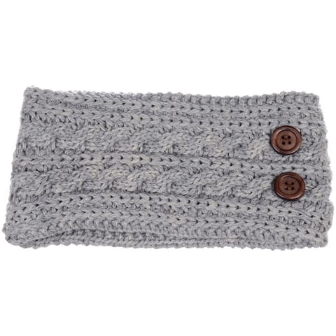 BYOS Women's Winter Chic Cable Warm Fleece Lined Crochet Knit Headband