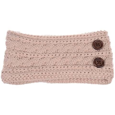 BYOS Women's Winter Chic Cable Warm Fleece Lined Crochet Knit Headband