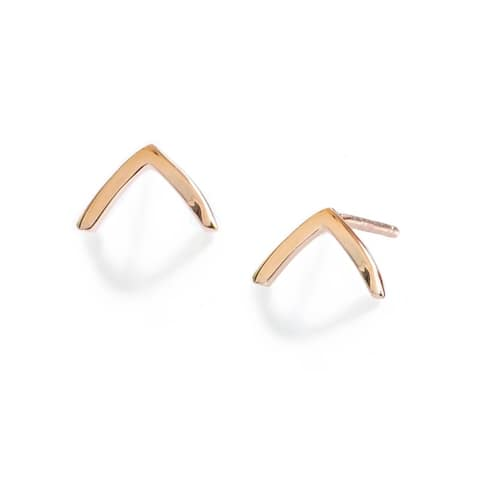 Sonia Hou Trill 2 Way Convertible 18K Rose Gold Over Sterling Silver (Vermeil) Wish Bone Stud Earrings