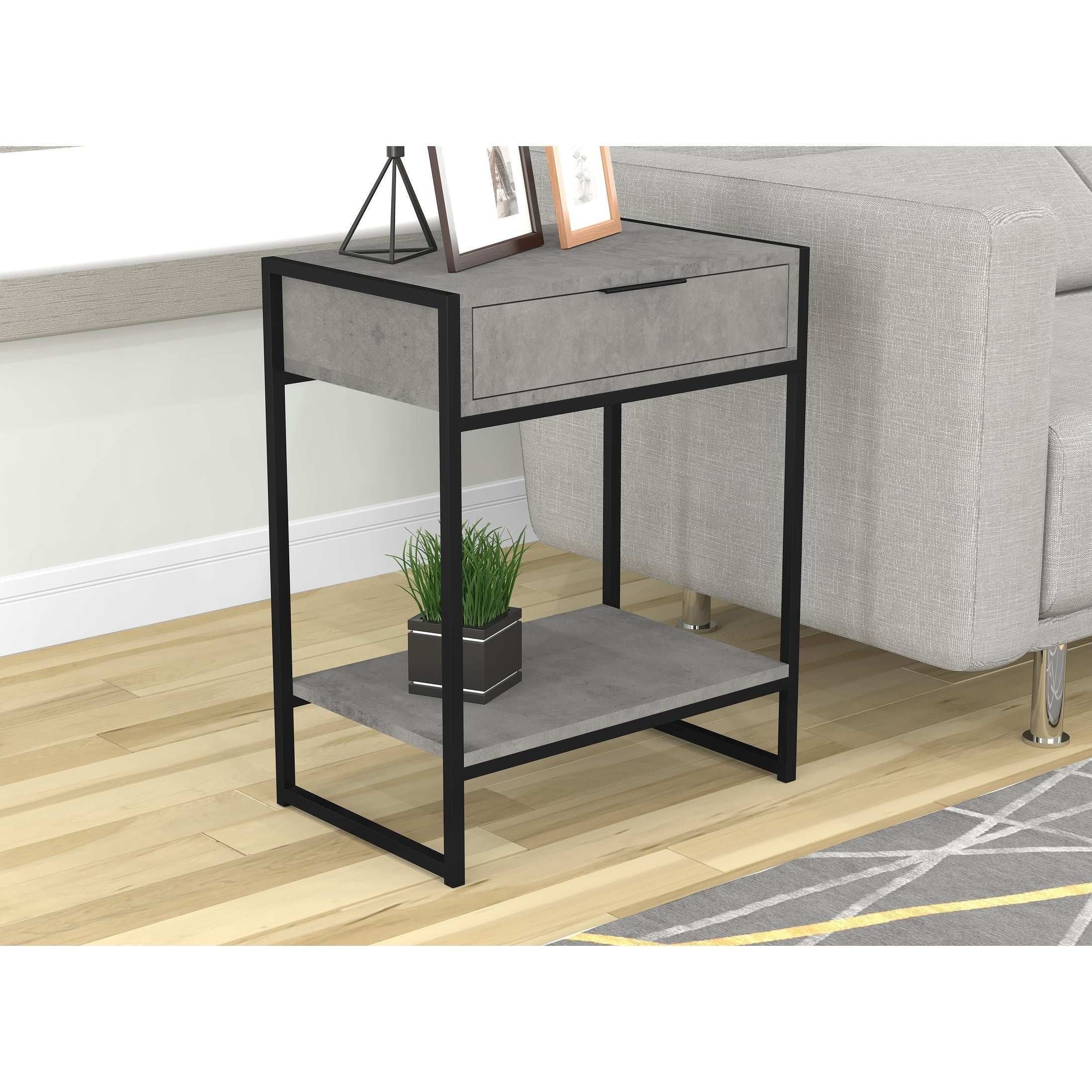 Safdie Co Grey Cement Wood Grain Finish With Black Metal Frame End Table Night Table Accent Table On Sale Overstock 26280587