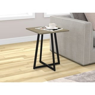 End Table/Night Table/Accent Table-Dark Taupe/Black Metal