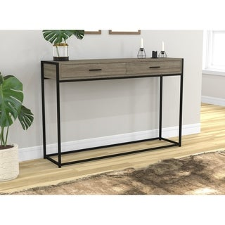 Safdie & Co. Dark Taupe Metal/Reclaimed Wood 48-inch Entryway/Console/Sofa Couch Table