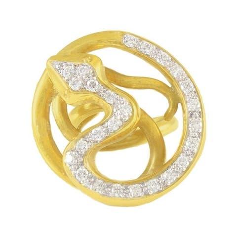 18K Yellow Gold Serpent Estate Diamond Cocktail Ring (I-J,SI1-SI2)