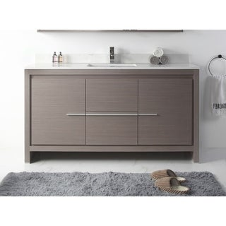 "60"" Viara Gray Oak Contemporary Bathroom Vanity"