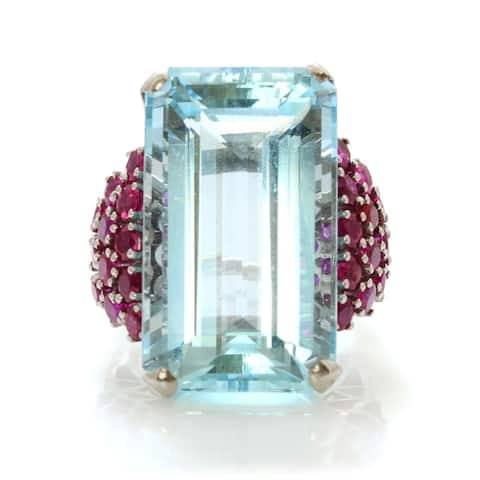 14K White Gold 45 Carat Aquamarine Rubies Deco Estate Ring (I-J, SI1-SI2)