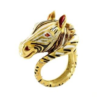18K Yellow Gold Enameled Zebra Estate Ring