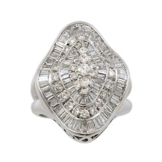 18K White Gold 3.5CT Large Cluster Diamonds Cocktail Ring