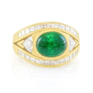 18K Yellow Gold 2CT Cabochon Emerald and Diamond Cocktail Ring