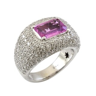 18K White Gold 3.25 CT Pink Sapphire and Diamond Vintage Ring
