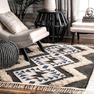 The Curated Nomad Sarria Hand Woven Wool Plush Contemporary Diamond Aztec Geo Shag Area Rug