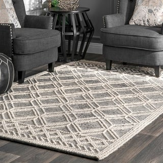 nuLOOM Handmade Wool Cotton Contemporary Argyle Trellis Area Rug