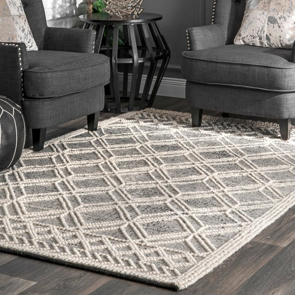 nuLOOM Handmade Wool Cotton Contemporary Argyle Trellis Area Rug