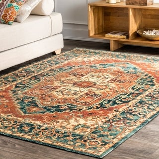 nuLOOM Transitional Vintage Valeria Antique Ombre Medallion Border Area Rug