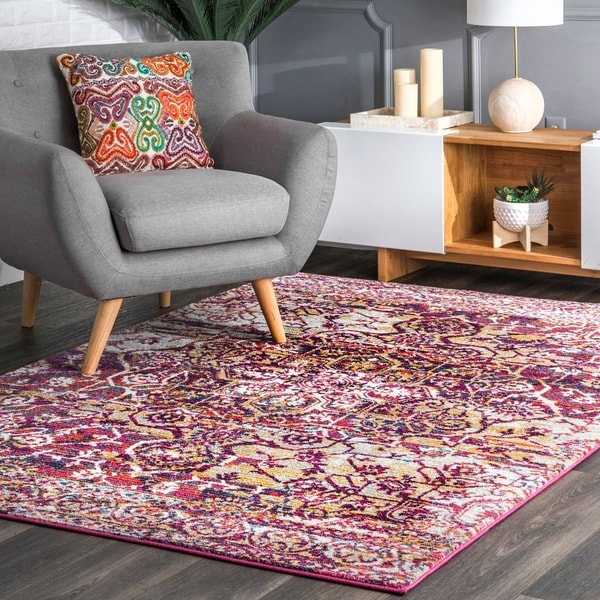 The Curated Nomad Elizabeth Bohemian Tribal Chic Ornament Floral Area Rug