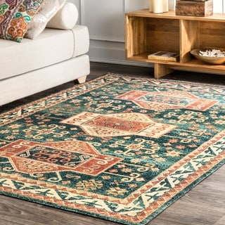 The Curated Nomad Zampa Transitional Vintage Antique Tribal Crest Border Area Rug