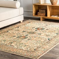 nuLOOM Transitional Vintage Valeria Antique Cathedral Print Border Area Rug