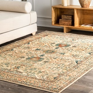 The Curated Nomad Zampa Transitional Vintage Antique Cathedral Print Border Area Rug