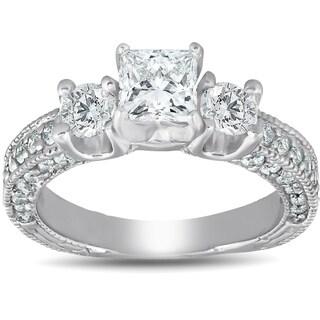 Bliss 14k White Gold 2 1/4 ct TDW Princess Cut Diamond Vintage Three Stone Engagement Ring Clarity Enhanced