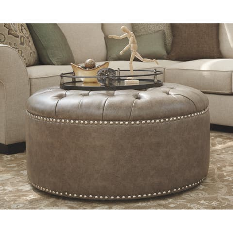 Signature Design By Ashley Wilcot Oversized Grey Tufted Ottoman