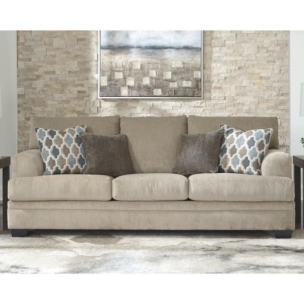 Dorsten Beige Sisal Sofa With 4 Throw Pillows On