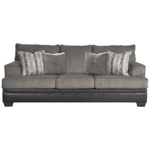 Millingar Queen Black Faux Leather And Smoke Grey Fabric Sofa Sleeper