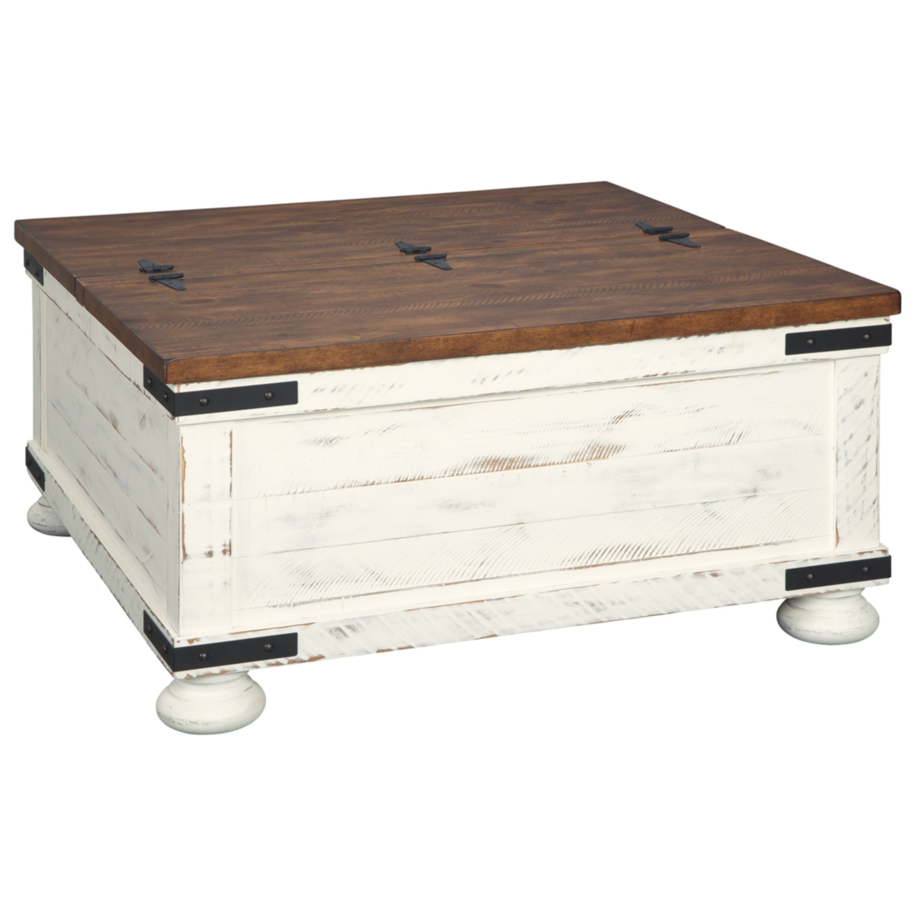 Signature Design By Ashley Wystfield White And Brown Wood Farmhouse Style Coffee Table On Sale Overstock 26281059