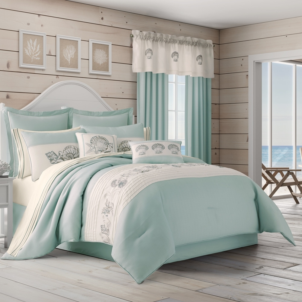 Full//Queen, 1 Quilt+ 2 Shams Ycosy 3-Piece Coastal Beach Bedspread Blue Marine Theme Quilt Set Bedding Seascape Images Vivid Sea Shell Coral Conch Sea Star Bed Covers Bedroom Decor