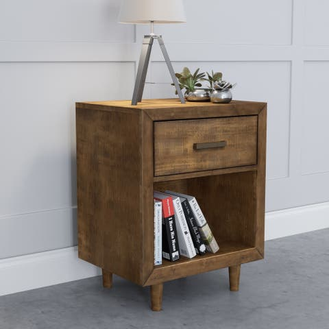 Abbyson Retro Mid Century Wood Nightstand with USB Ports