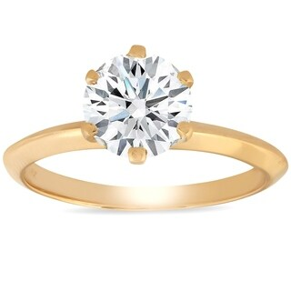 Bliss 14k Yellow Gold 1 1/4 ct TDW Solitaire Diamond Engagement Ring Clarity Enhanced