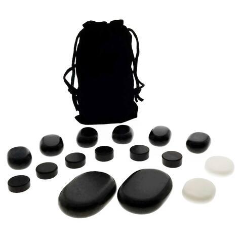 16-piece Facial Massage Basalt Stone Set with Velvet Travel Pouch