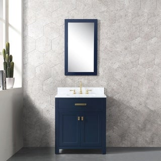 Water Creation Madison Monarch Blue Wood Single Sink Carrara White Carrara Marble Vanity