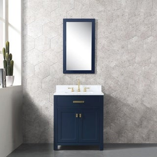 Madison 30 In Single Sink Carrara White Marble Vanity In Monarch Blue