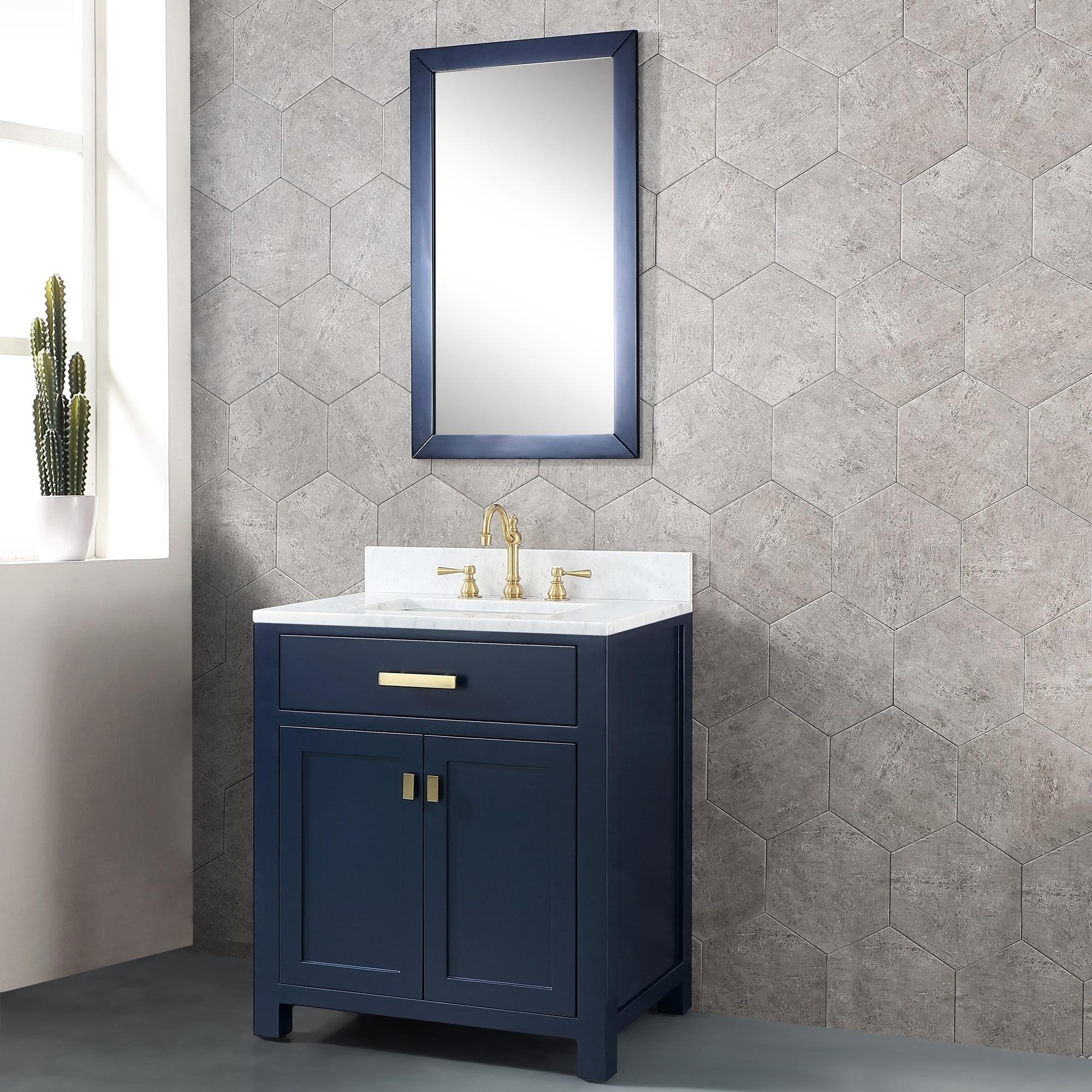 Madison 30 In Single Sink Carrara White Marble Vanity Monarch Blue