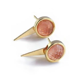Sonia Hou Fire 3-Way Convertible 24K Gold Pink Coral Gemstone Earring Jackets