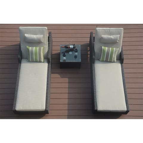 Moda 3-piece Patio Wicker Adjustable Chaise Lounge Set Sunbed Daybed