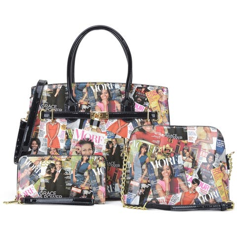 a5c43dde1fbc Michelle Obama Magazine Cover Printed Patent Leather Medium Padlock Deco  Satchel, with mini messenger bag